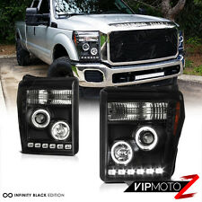 2011-2016 Ford F250 F350 F450 SuperDuty SD Black Halo LED Headlights Headlamps