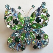 VINTAGE REGENCY SIGNED BLUE AND GREEN RHINESTONE FIGURAL BUTTERFLY BROOCH