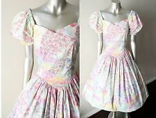 Princess Sweetheart Floral VTG 80s Pastel Pouf Tea Swing Wedding Party Dress M