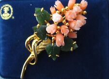 Pink Coral Tulip/Jade Leaf Pin Brooch Gold Plated