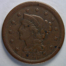 1847 Braided Hair Liberty Head Large Cent US Copper Type Coin VF