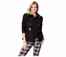 NWT JUICY COUTURE SzXS WOOL SHORT SWING COAT PITCH BLACK $348.