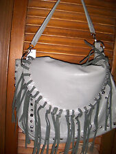 Brand Unknown~NWT's Gray Leather like fold over fringe flap 2 strap large handba