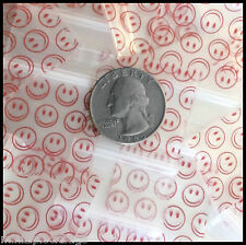 3 Mil Small Ziplock Bags 125125 Red Smiley Face Design 100 Apple Brand Baggies