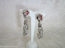Vintage Lucite Silver Plate Fancy Dangle Lg Clip On Earrings w Coral Estate Find