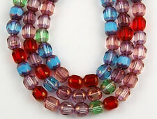50pcs Mix Aqua Ruby Crystal Cathedral Faceted Window Glass Beads 5mm