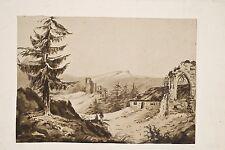 Petit dessin lavis encre XIX° Paysage romantique ruines de chapelle montagne