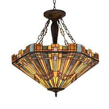 "Tiffany Style Stained Glass Mission 3 Light Inverted Pendant Fixture 24"" Shade"