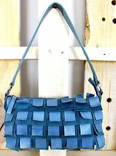 FRINGE FEATHER TURQUOISE BLUE GENUINE LEATHER MINI SHOULDER BAG PURSE HANDBAG