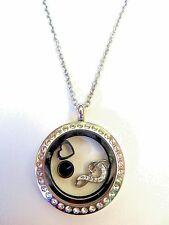 Stainless Steel  Floating Glass Locket Charm Necklace Pendant Chain Love & Music