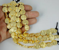 """5 Strands 12.5mm Round Copper Brass Metal 24k Gold Plated Finding Beads 7"""" Long"""