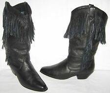 VINTAGE DINGO BLACK LEATHER COWBOY WESTERN CALF HIGH  FRINGE BOOTS SIZE 7 MEDIUM