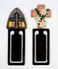 Hand Painted Cross Church Glass Bookmarks (Set of 2) A53C