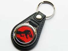 JURASSIC PARK Dinosaur Film Movie Premium Leather & Chrome Keyring