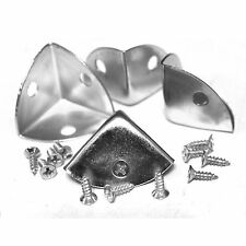 Pack of 4 silver tone metal case corner protectors, 21mm sides, with screws