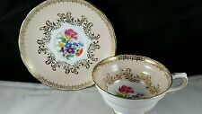 Grosvenor English Bone China Teacup and Saucer Peach with Multicolored Flowers