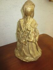 "Vtg. GOLD PAPER MACHE PRAYING ANGEL Figurine or Tree Topper - 12"" x 7"" x 6 1/2"""