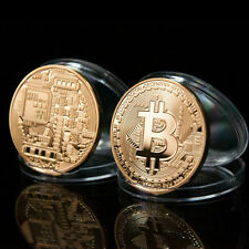 1 x BTC Coin Art Collection Gold Plated Bitcoin Coin - collectible Gift