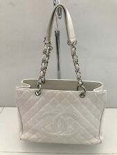 CHANEL White Caviar Quilted Leather Grand Shopping Tote GST Silver Hardware