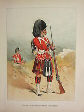 1905 ANTIQUE MILITARY PRINT ~ 79th QUEENS OWN CAMERON HIGHLANDERS ~ BRITISH