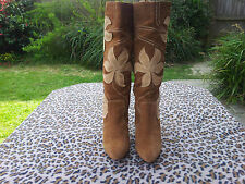 Office Brown Suede leather knee high boots UK size 6 EU 39