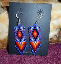 Earrings Native American Beaded Blanket Design By Navajo Artist Brenda Henderson