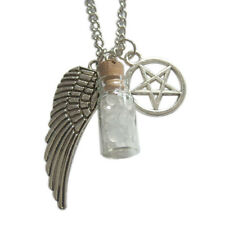 Supernatural Protection Angel Wing Pentagram Salt Burn Bottle Necklace Jewelry