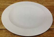 Denby Langley All White Dinner Plate Rim Rimmed Lines Texture Band England 11.5