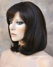 HUMAN HAIR Blend Straight Dark Brown  HEAT SAFE CUTE Wig WBPM 4