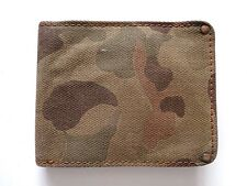 New Ralph Lauren Vintage RRL Italy  Camo Canvas & Brown Leather Bifold Wallet