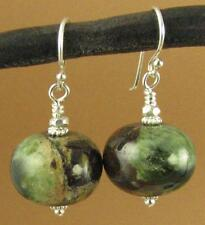 Jade and silver earrings. Big round. Green brown black. Sterling 925. Handmade.