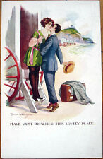 1915 Fred Spurgin/Artist-Signed Glamour Postcard: Man Kissing Woman at the Beach