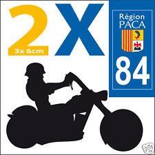 2 stickers autocollants style plaque immatriculation moto Département  84