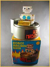 "ROBOT MACHINE BANQUE Wind-up ""Everlast Toys"" + boite (clockwork antique toy)"