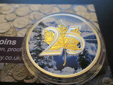 2013 1 oz Silver Color Canadian Coin - 25th Anniversary Maple Gold Gilded Winter
