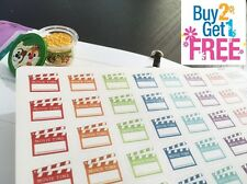 PP080 -- 48 Small Movie Time Reminder Life Planner Stickers for Erin Condren