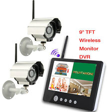 "9""TFT LCD 2.4G 4CH Wireless DVR Security System Outdoor = IR Night Vision Camera"