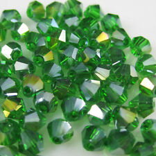 Free Shipping 100pcs 4mm Glass Crystal #5301 Bicone beads Grass Green AB AA-460