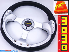 MOMO 350mm DEEP DISH STEERING WHEEL SILVER/BLK Rally Drift OMP NARDI SPARCO 19-2