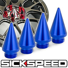 4 PC BLUE ALUMINUM EXTENDED TUNER SPIKES WHEELS/RIM SICKSPEED LUG NUT P4