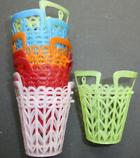 10 Kitsch 1950s Plastic Baskets 5.5cm Tall  VERY Useful...