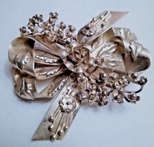 Large Vintage Signed Hobe 14K on Sterling Bouquet and Ribbon Brooch Pin