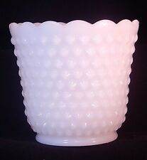 "Vintage 1950's Fire King Oven Ware Milk Glass Hobnail Vase/Planter 4.5"" Tall"