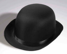STEAMPUNK BOWLER COKE SATIN DERBY BLACK HAT Halloween Costume Accessory 638