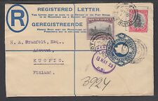 South Africa H&G C6 used 1929 4p Registered Envelope, Uprated to Finland