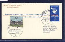 53329) LH FF Francfort-philadelphie 3.4.65, états-unis postal stat. reply Card