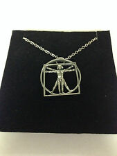 DA VINCI VITRUVIAN MAN DVMKR    Emblem on Silver Platinum Plated Necklace 18""