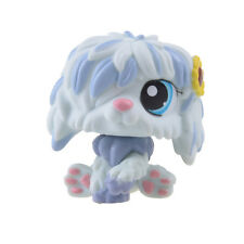 Rare Hasbro Littlest Pet Shop LPS Blue White Long Hair Dog Gift Toy Animals