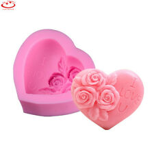 3D Loving Heart Rose Silicone Mold Soap Chocolate Cake Mold Fondant Decorating