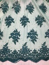 """GREEN MESH COREDED FLORAL EMBROIDERY RHINESTONE BRIDAL LACE FABRIC 48"""" WIDE 1 YD"""